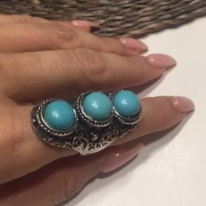 Jewelry - Turquoise & Silver Inspired Ring Ss 7-8